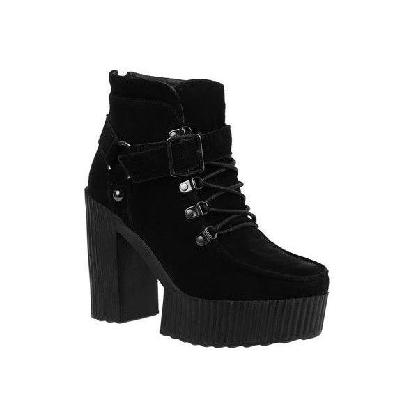 Yuni Creeper Black Suede, Womens Lace-up Shoes T.U.K.