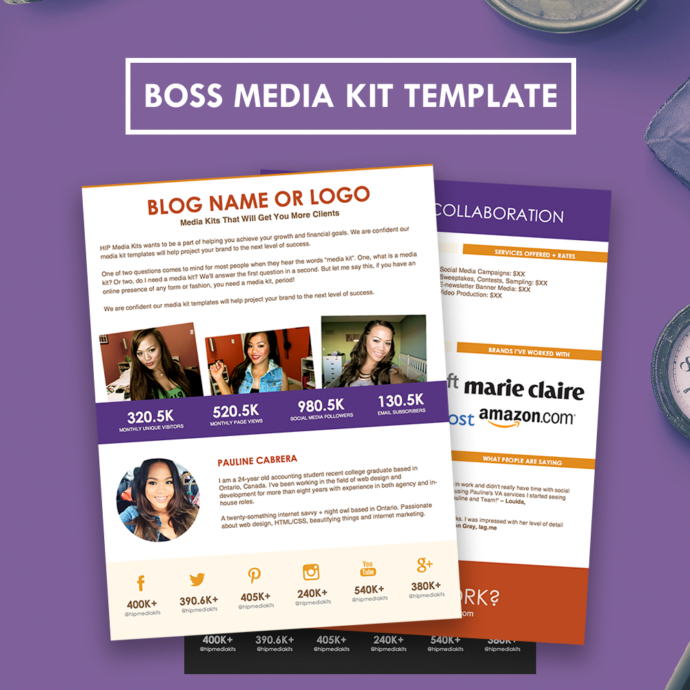 Boss TwoPage Media Kit Template  Click The Pin For Bigger