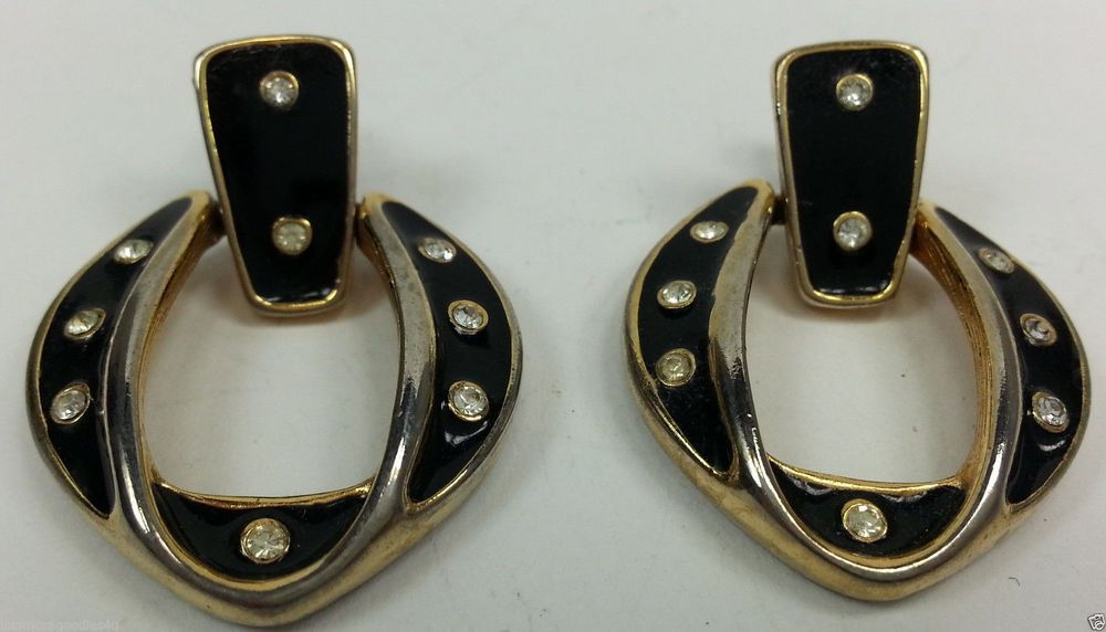 Gold tone and black enamel round dangle hinged earrings with clear stone #DropDangle