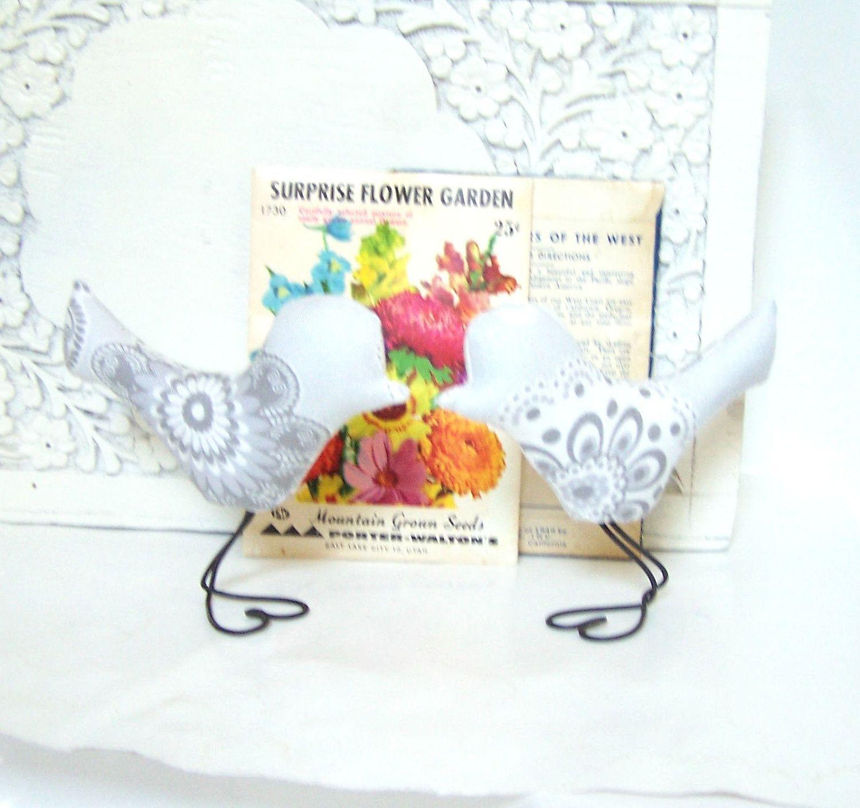 Love Birds Wedding Cake Toppers, Modern Grey, Dark Grey and White Flowers, Cup Cake Toppers, Wedding Gift, Baby Nursery Decor