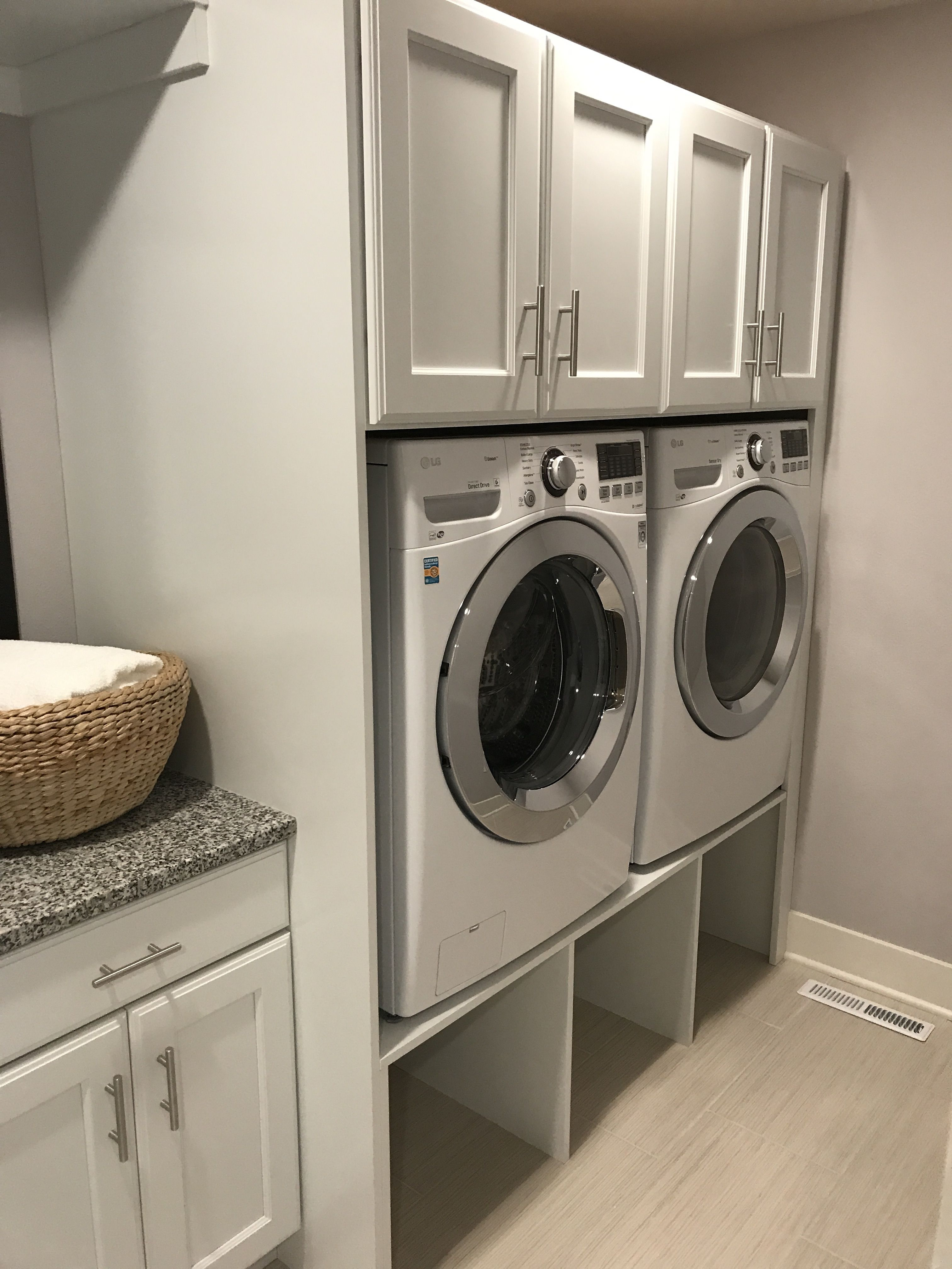 Laundry Riser Idea Basket Storage Under And Cabinets On Top