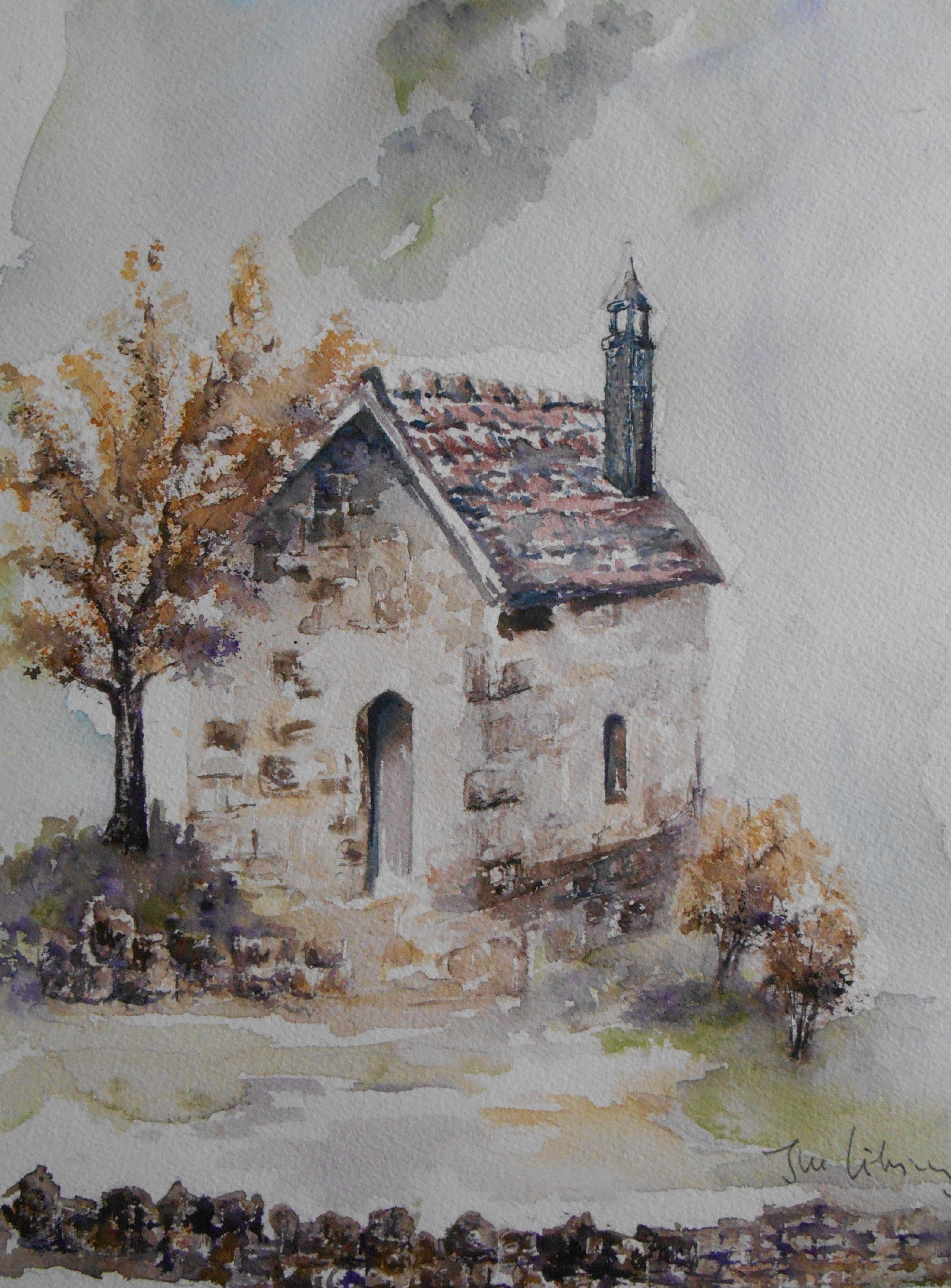 Aquarelle De Mon Papa J M Libsig Peinture Paysage Peinture