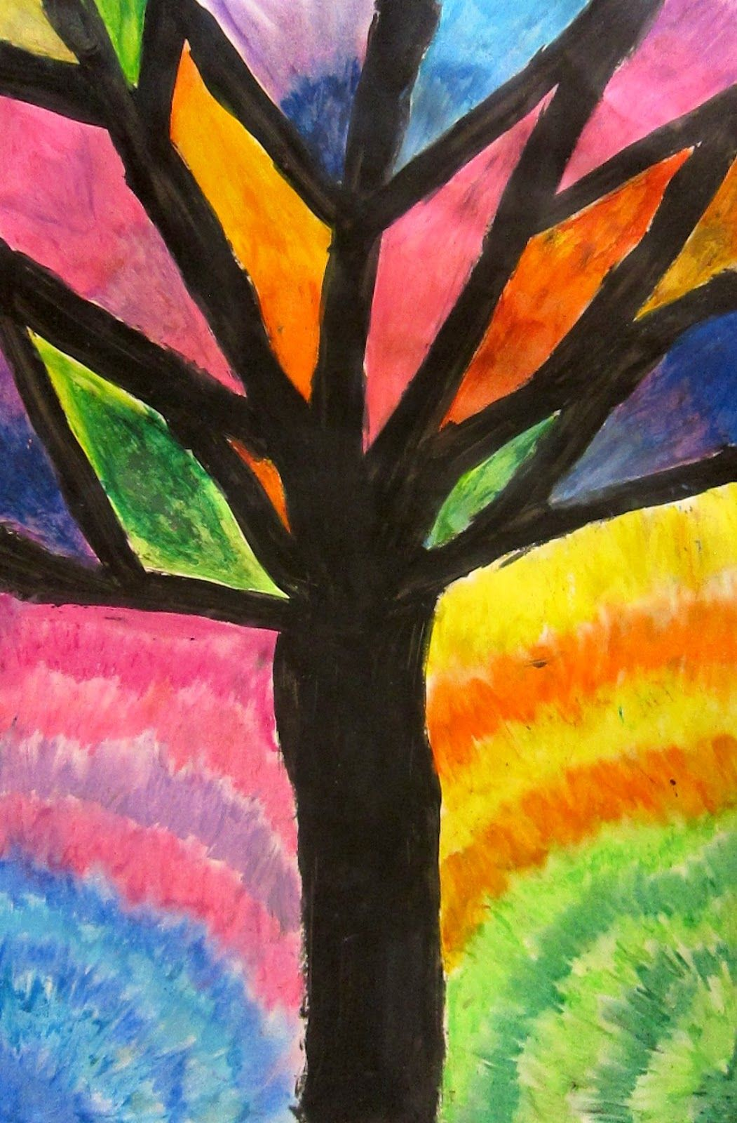 Abstract Oil Pastel Trees 4th/5th grade Kuvataide, Syksy