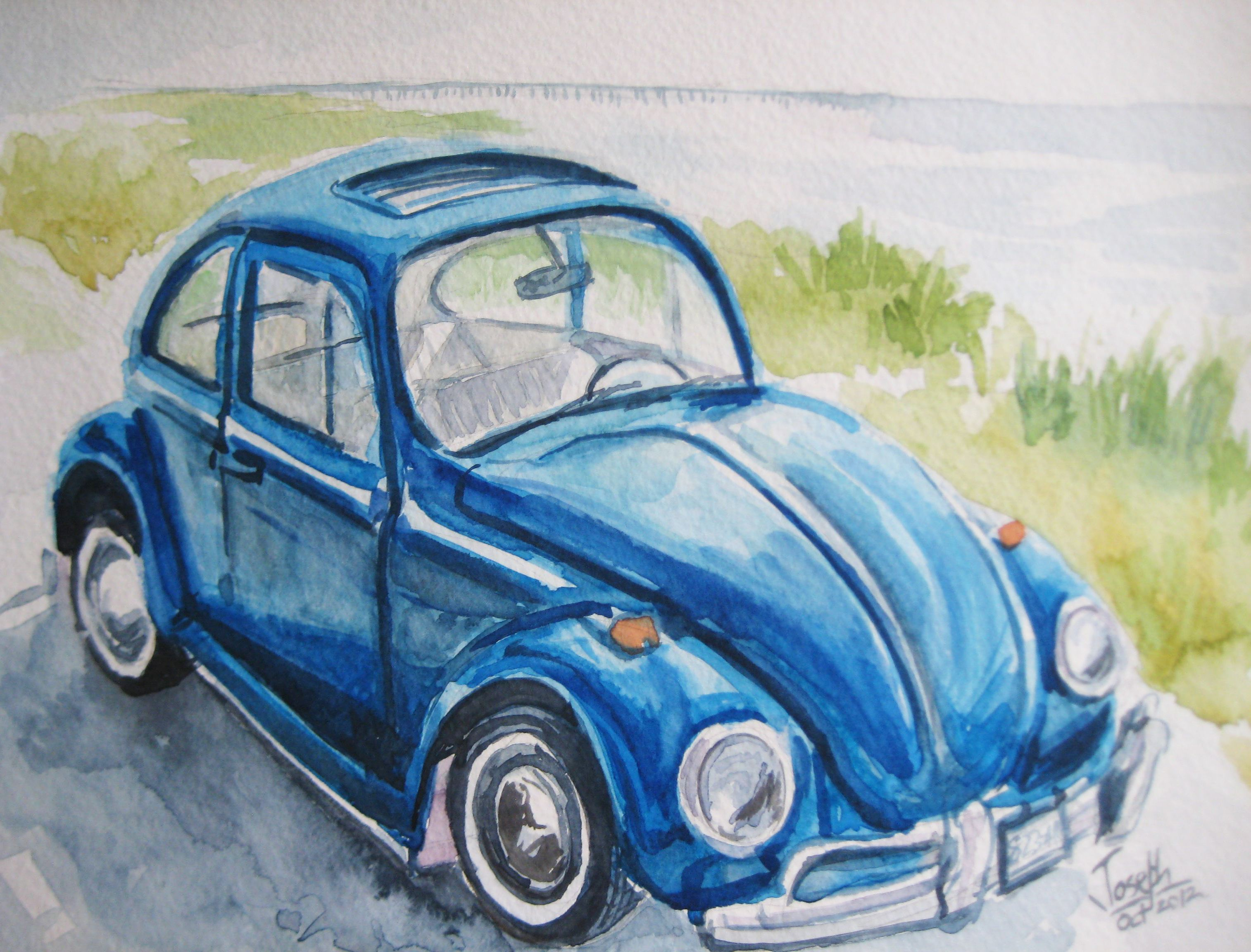 Watercolor Car Painting By The Joey Studio Vw Art Car Painting