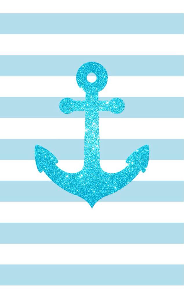 Blue glitter anchor blue white stripes iphone phone wallpaper background lock screen
