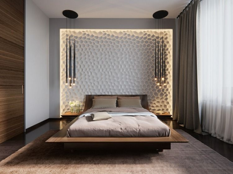 beleuchtung im schlafzimmer mit 3d wandpaneele und pendelleuchten von svetlana nezus. Black Bedroom Furniture Sets. Home Design Ideas