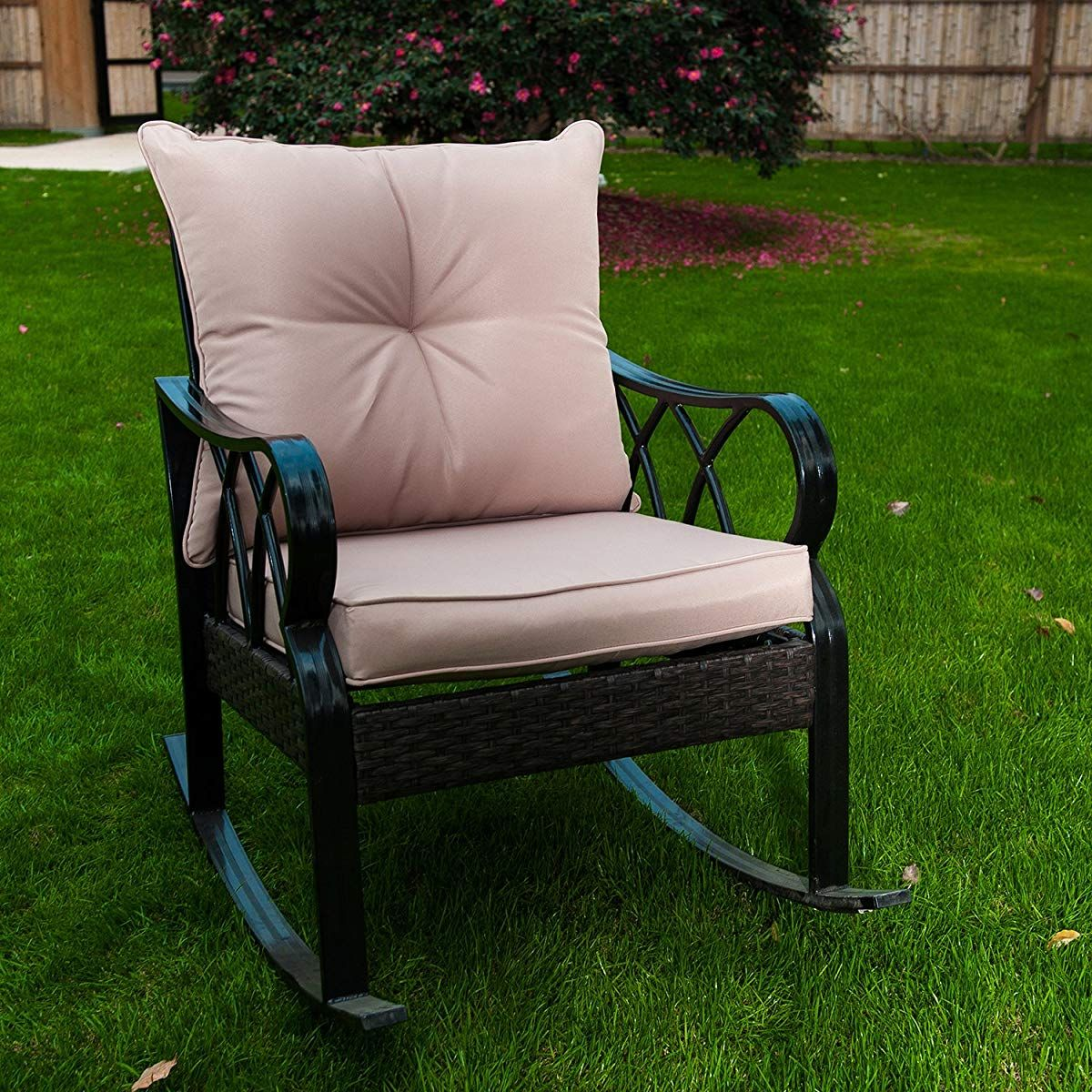 Unbranded 2 Person Metal Frame Patio Outdoor Glider Rocking Bench Loveseat Armchair Op3100 The Home Depot In 2020 Patio Loveseat Patio Glider Rocking Bench
