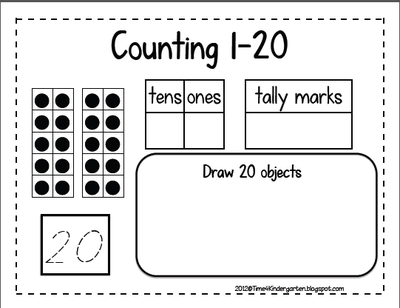 Counting 1-20 from Time 4 Kindergarten on TeachersNotebook