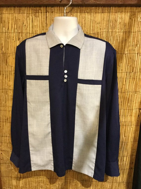 Vintage 1950s two tone shirt size small FKJlnso