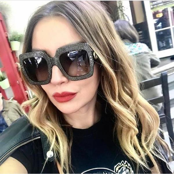 0370f56d1fb  FASHION  NEW BUKE 2018 New Brand Designer Ladies Oversized Square  Sunglasses Women Diamond Frame
