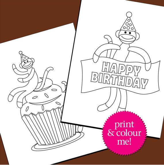 Colouring Pages Birthday Sock Monkey Birthday Coloring Book