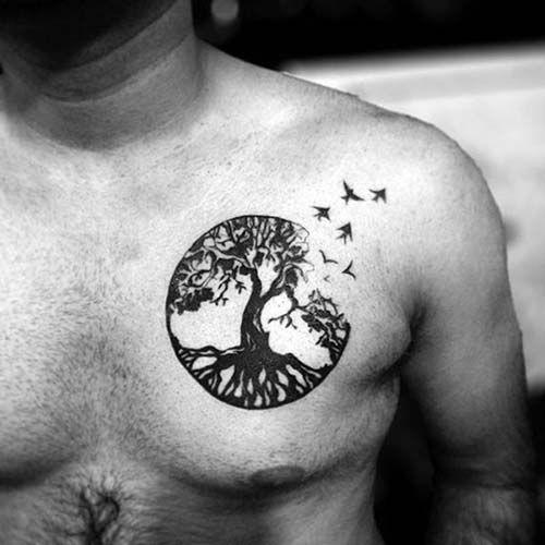 man chest bird tattoo erkek g246ğ252s kuş d246vmesi kuş