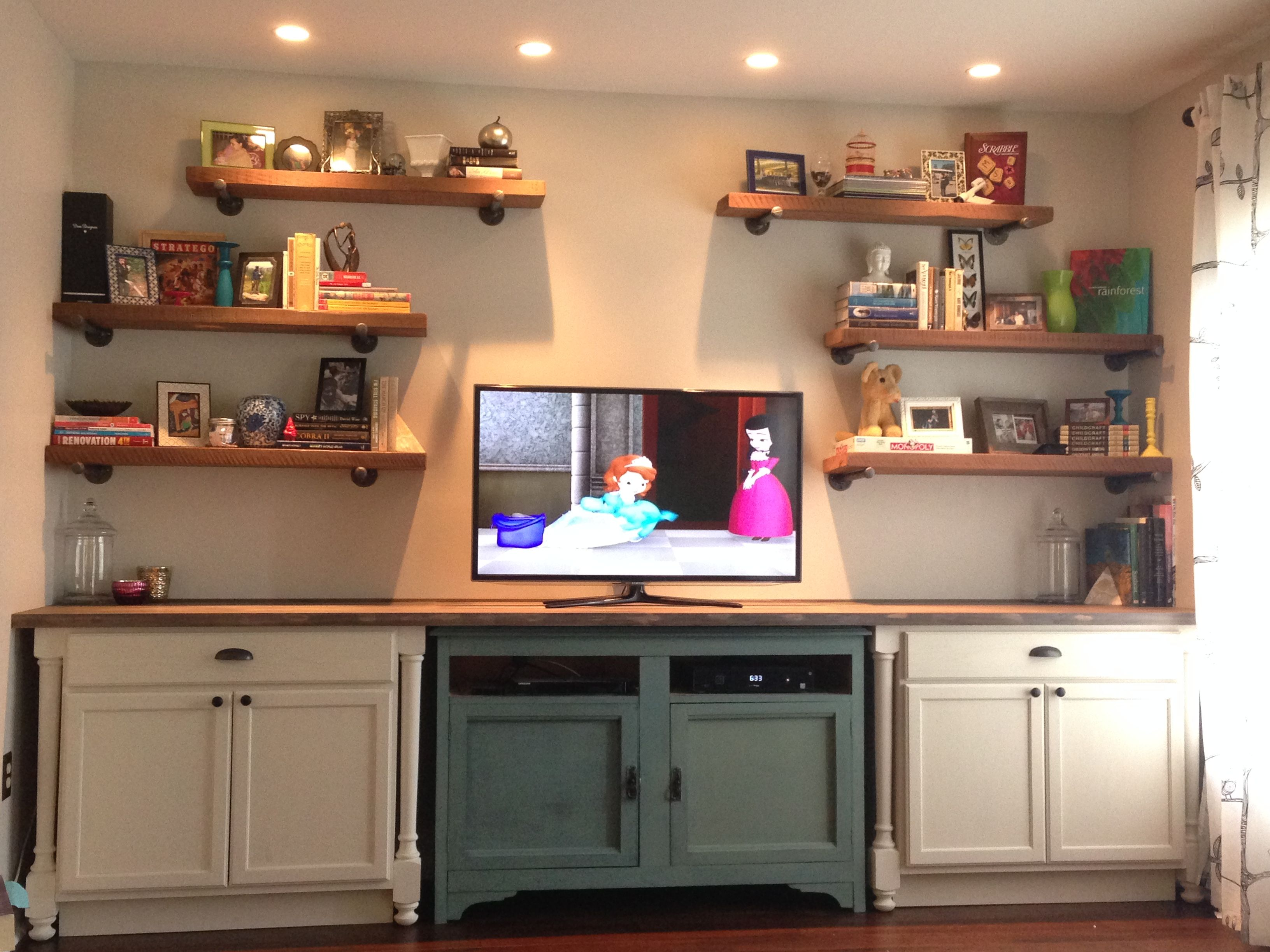 Built In Entertainment Center Using Stock Cabinets And A Re Purposed Buffet Counter Top Bui Stock Cabinets Built In Entertainment Center Entertainment Center