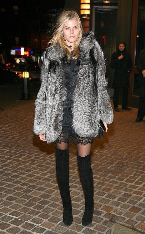 Fur, slip dress & thigh-highs