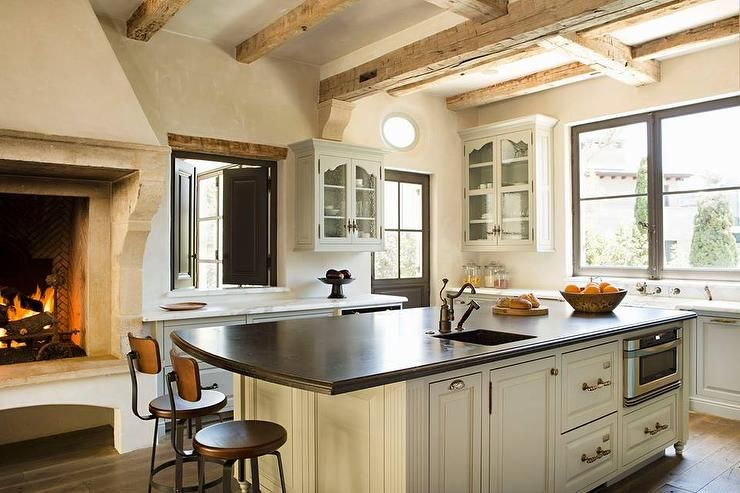 Kitchen with Rustic Fireplace - Transitional - Kitchen House