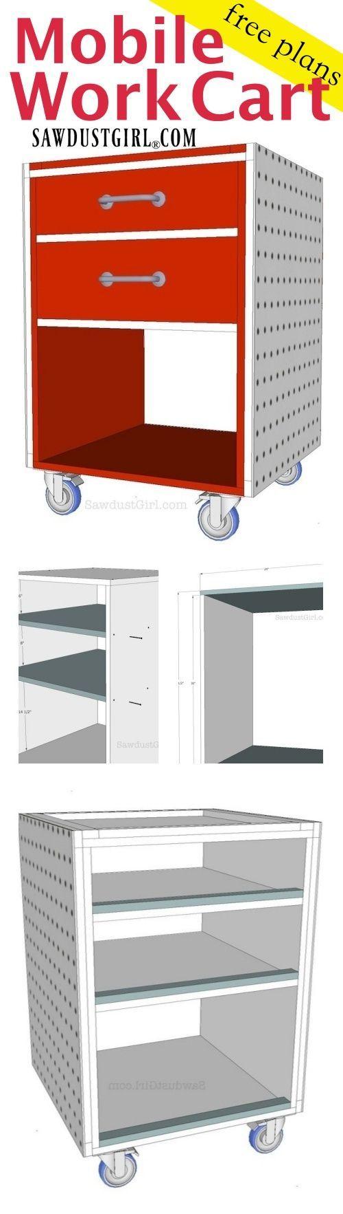 Mobile work cart free plans garage pinterest free