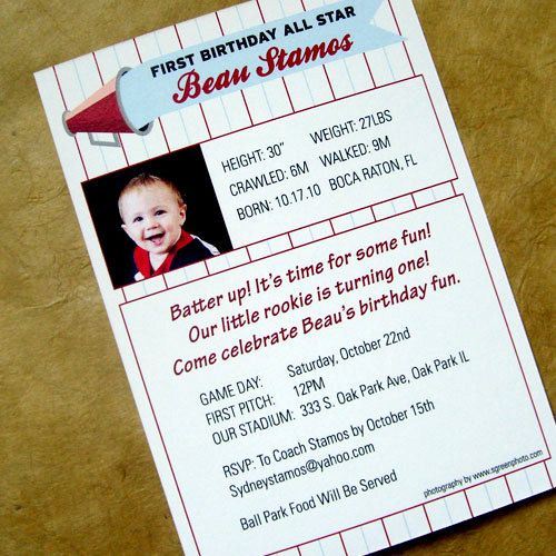Baseball Card Birthday Invitation 225 Via Etsy