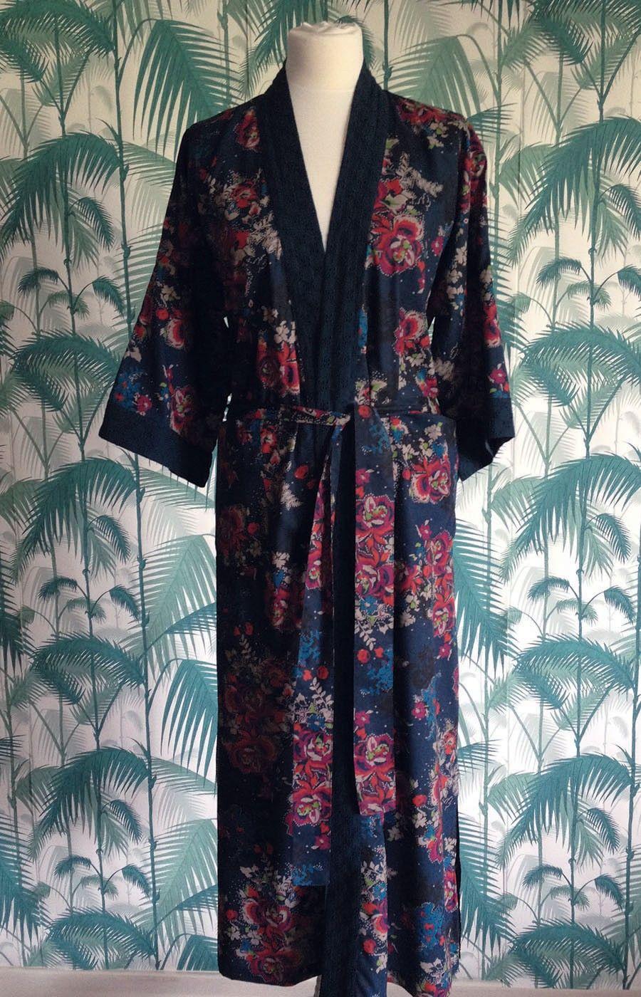 Tanzanite Rose Long Kimono Dressing Gown - Long Dressing Gowns ...