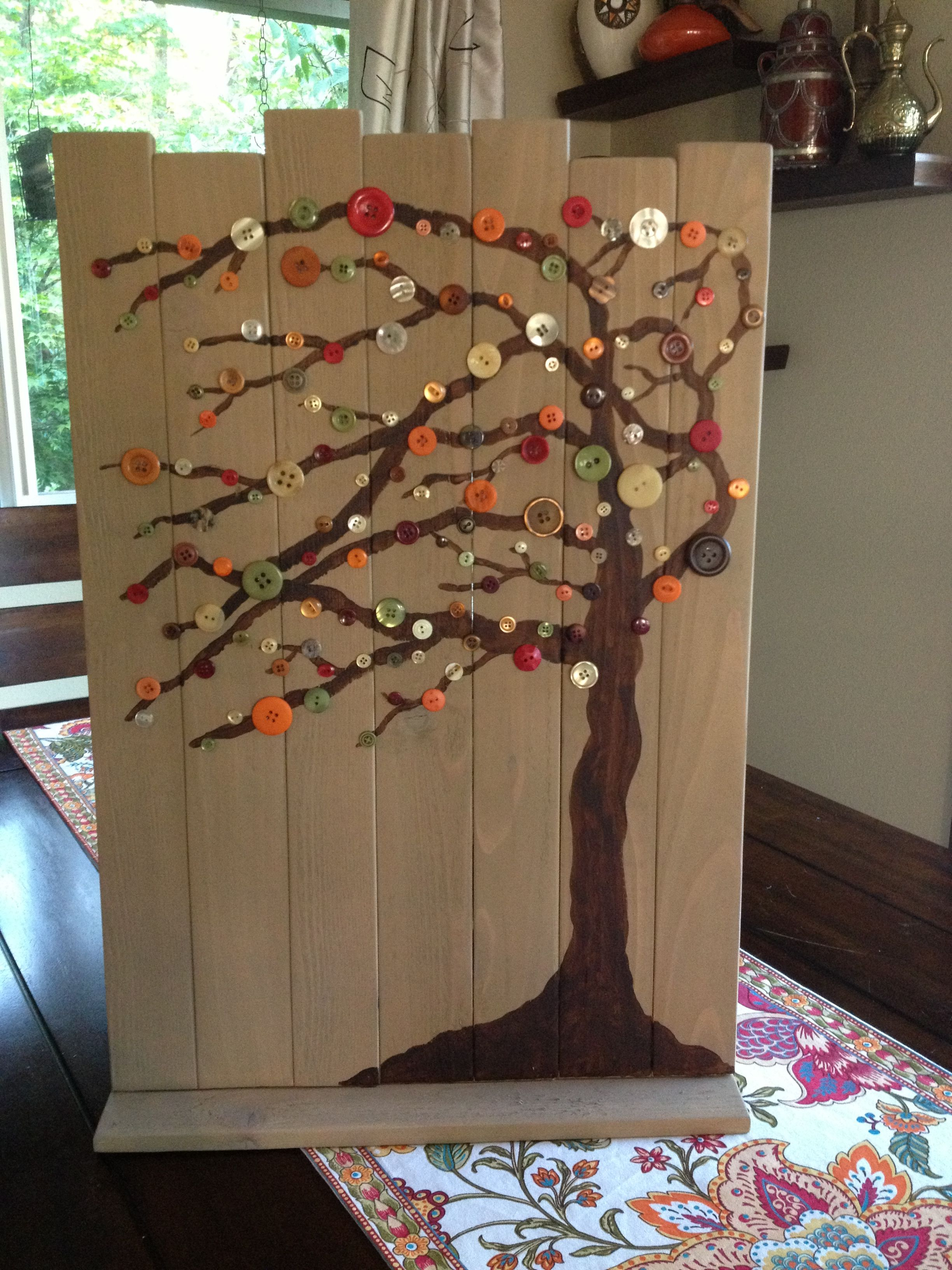 Diy fall decorating scrap wood acrylic paint buttons and for Acrylic paint for wood crafts