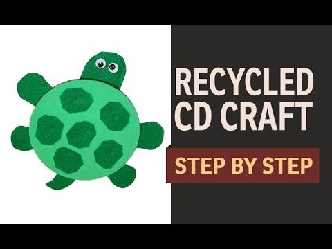How to make a cd turtle waste cd craft ideas recycled for Waste cd craft ideas