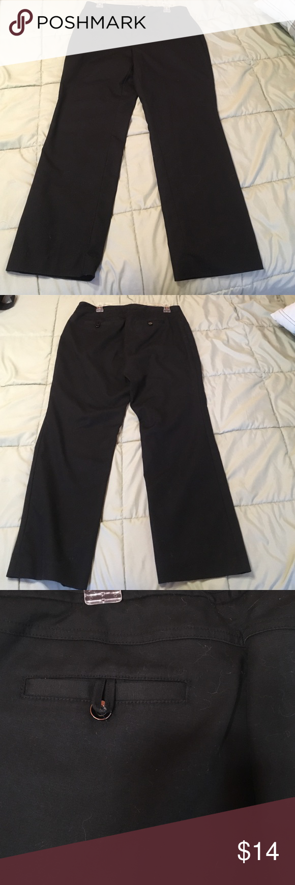 "Rafaella curvy black pants The Smith yellow black pants are in great shape they have two pockets in the back with buttons. The front has two slant pockets and a zipper. The inseam is 28"".waist is 33"". They are made  of cotton,polyester, and spandex . Rafaella Pants"