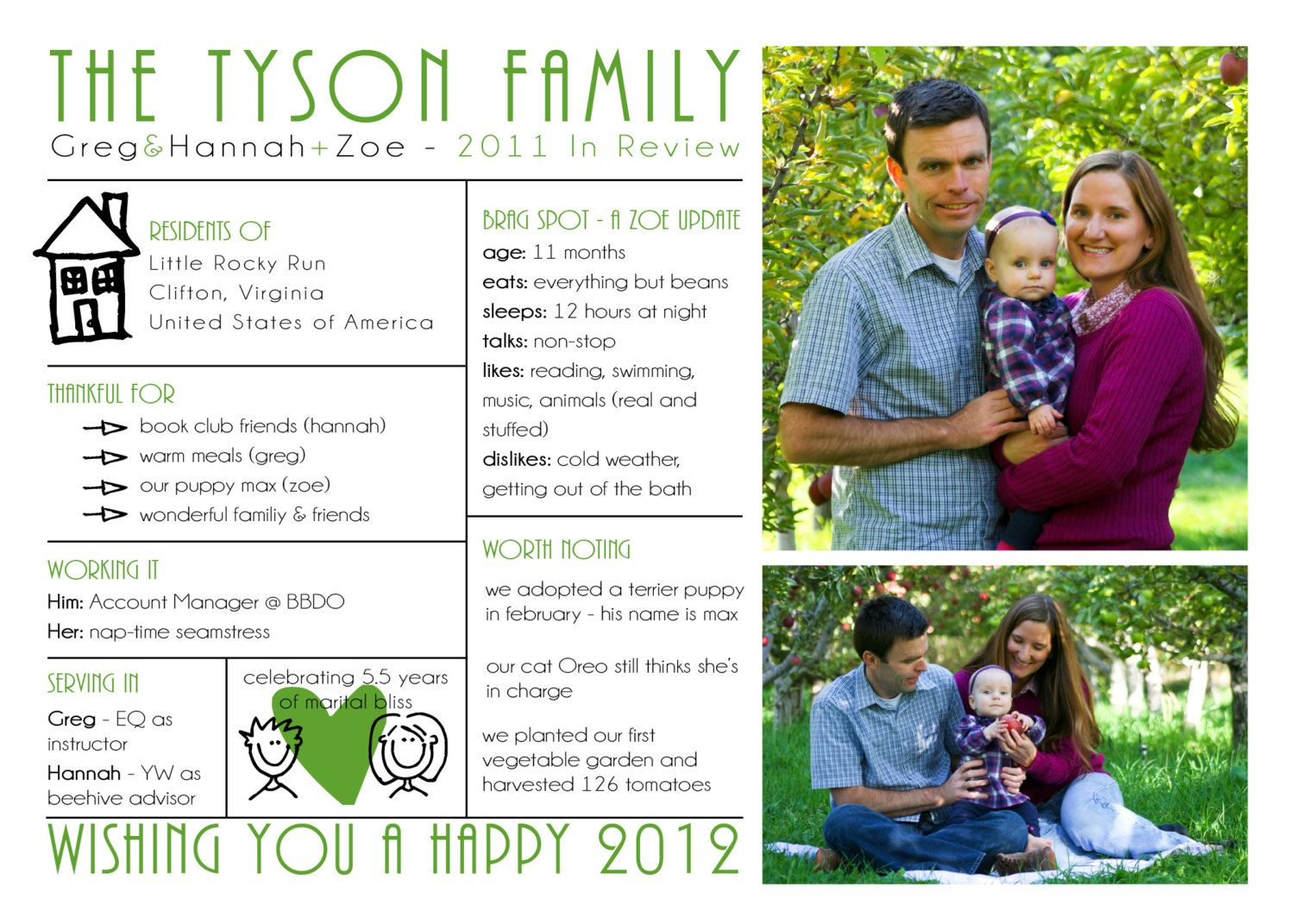 Modern Family Christmas Photo Card And Letter  Family Update
