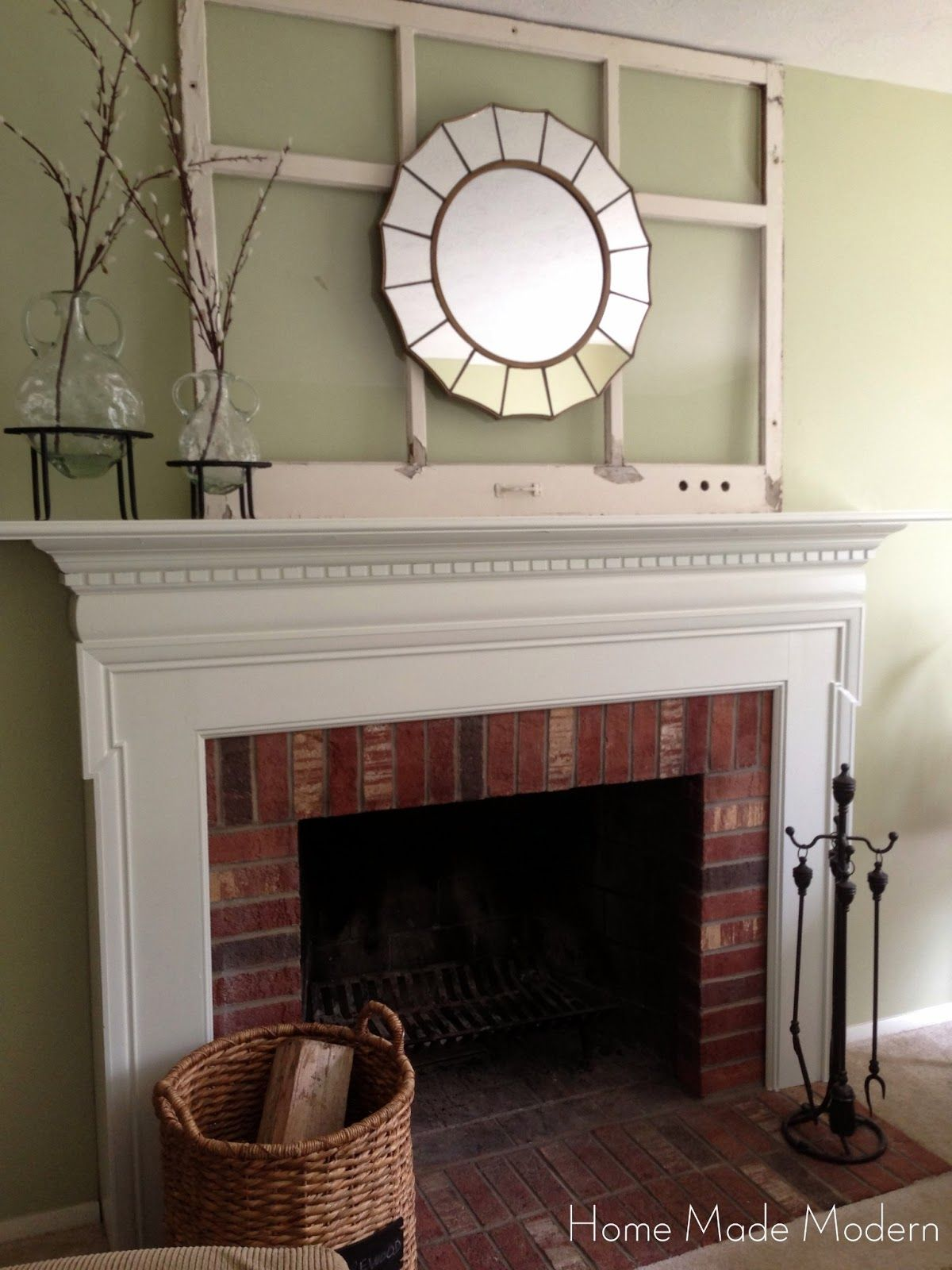 Favored White Painted Fireplace Mantel Also Brick Wall