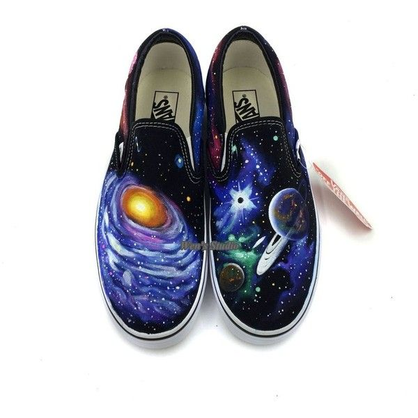 Slip On Vans Space Galaxy Nebula Shoes Men Women Hand Painted Black... ( 12543c91182e
