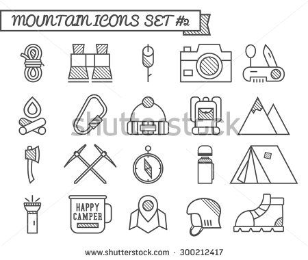Set of C& travel icons thin line style flat design. Mountain and climbing theme with touristic tent axe and other equipment and elements.  sc 1 st  Pinterest & Set of Camp travel icons thin line style flat design. Mountain ...
