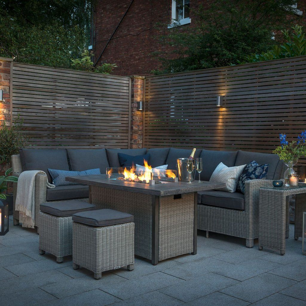 Kettler Palma Corner Right Hand Rattan Outdoor Sofa Set with Fire