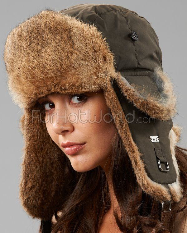 Autum Brown Trapper Hat with Brown Rabbit Fur  de76b314f89d