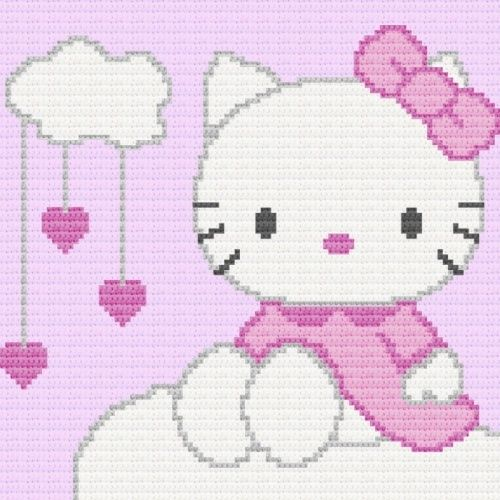 Hello Kitty Afghan Blanket Graph Crochet Pattern Ebay Blankets
