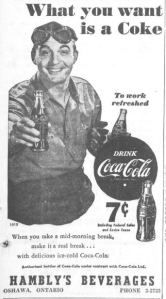 Hambly S Beverages Ad From The Canadian Statesman April 3 1952