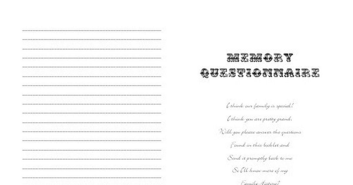 Family history questionnairepdf family history history