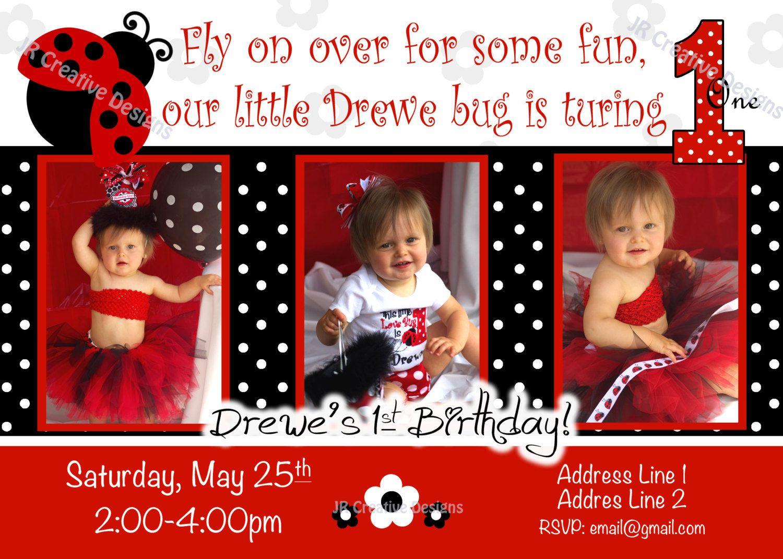 ladybug birthday invitation lady bug