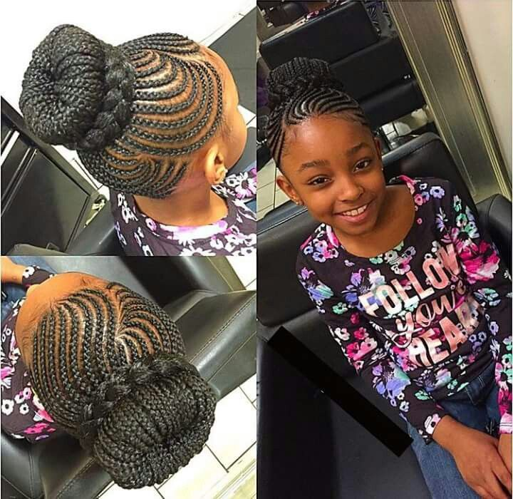 Cute Little Girls Hair Style Braided Up Cornrow Styles