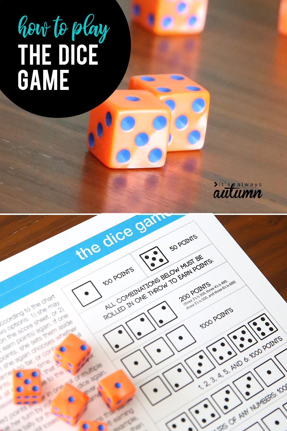 The Dice Game Fun Easy Game For Kids And Adults It S Always Autumn Easy Games For Kids Simple Game Dice Games