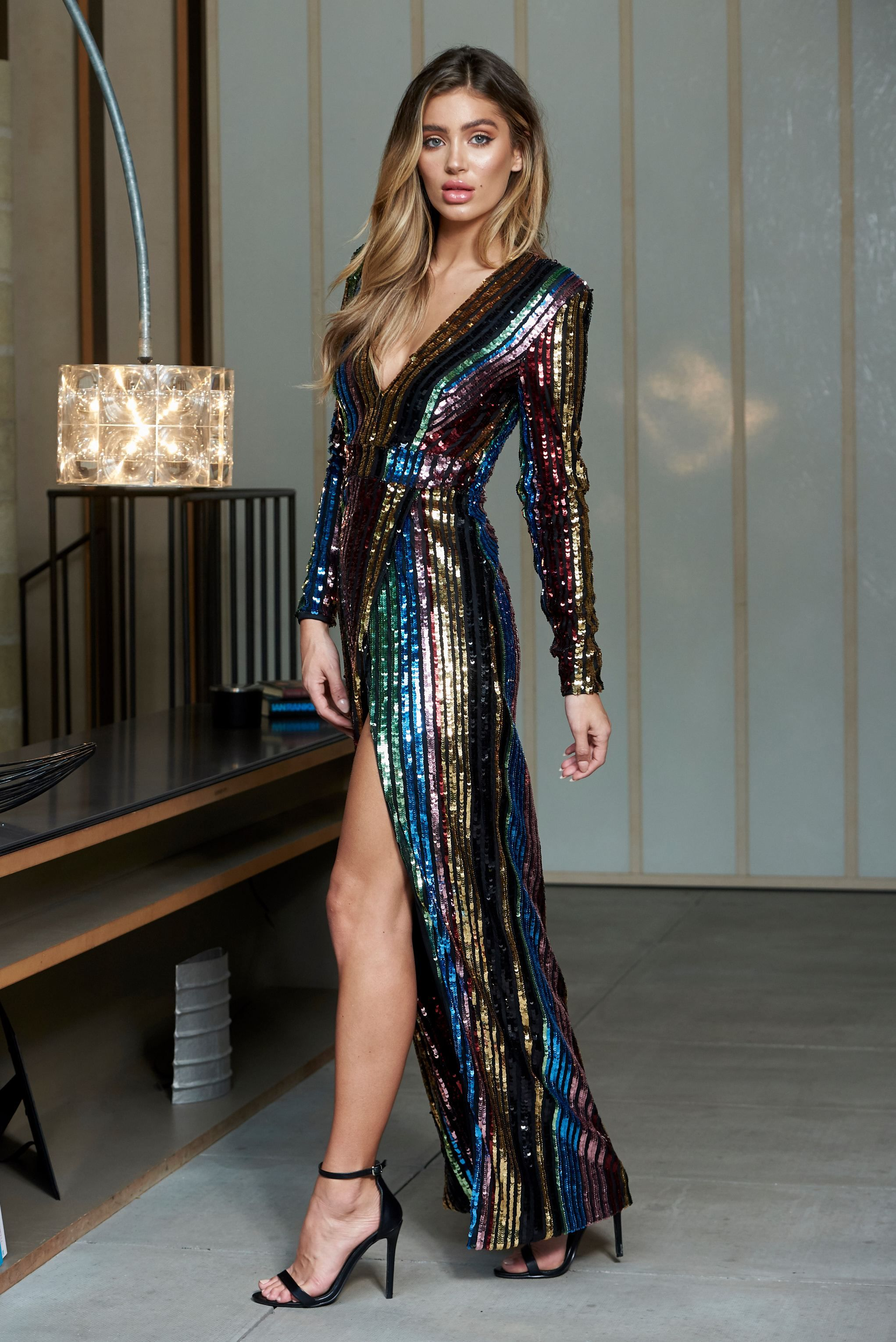 ef1e7041bb Multi Stripe Sequin Wrap Front Maxi Dress – Club L London