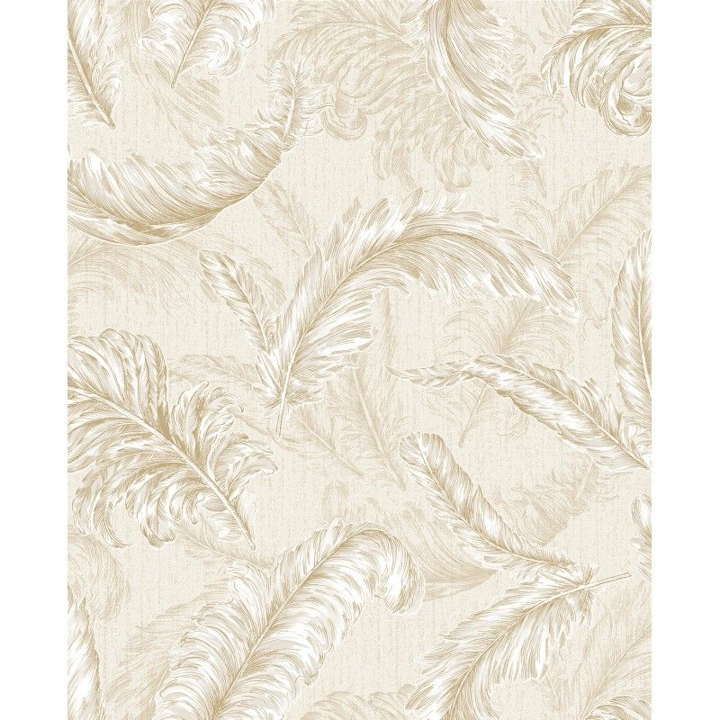 Gilded Feather Cream / Gold Glitter Wallpaper by Graham