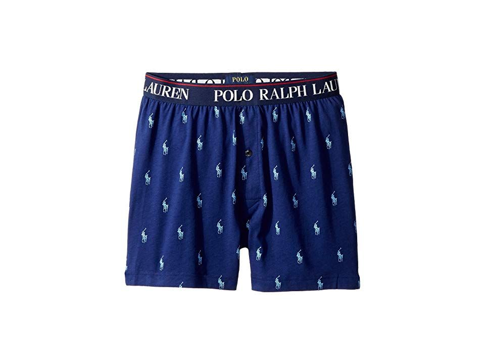 a431f4f189e Polo Ralph Lauren All Over Pony Player Slim Fit Knit Boxer (Fall Royal All  Over Pony Print) Men's Underwear. Classic style reigns supreme in  comfortable ...