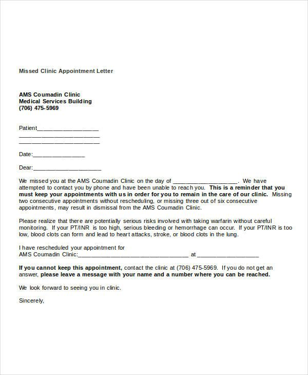 Missed clinic appointment letter templateg templates free sample free missed appointment letter templates sample letters best free home design idea inspiration spiritdancerdesigns Image collections
