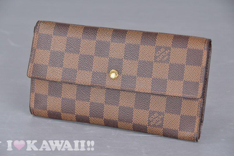 Auth Louis Vuitton Damier Ebene Porte Tresor International Long Wallet N61217