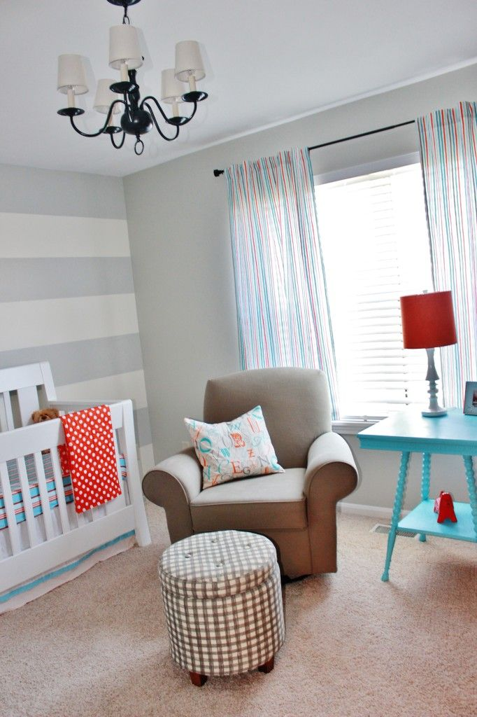 Project nursery gray striped orange and aqua nursery for Grey nursery fabric