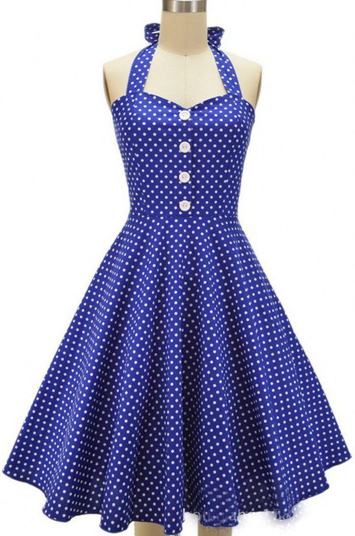 Royal Blue Long Polka Dot Vintage Dress | Vestidos juveniles ...