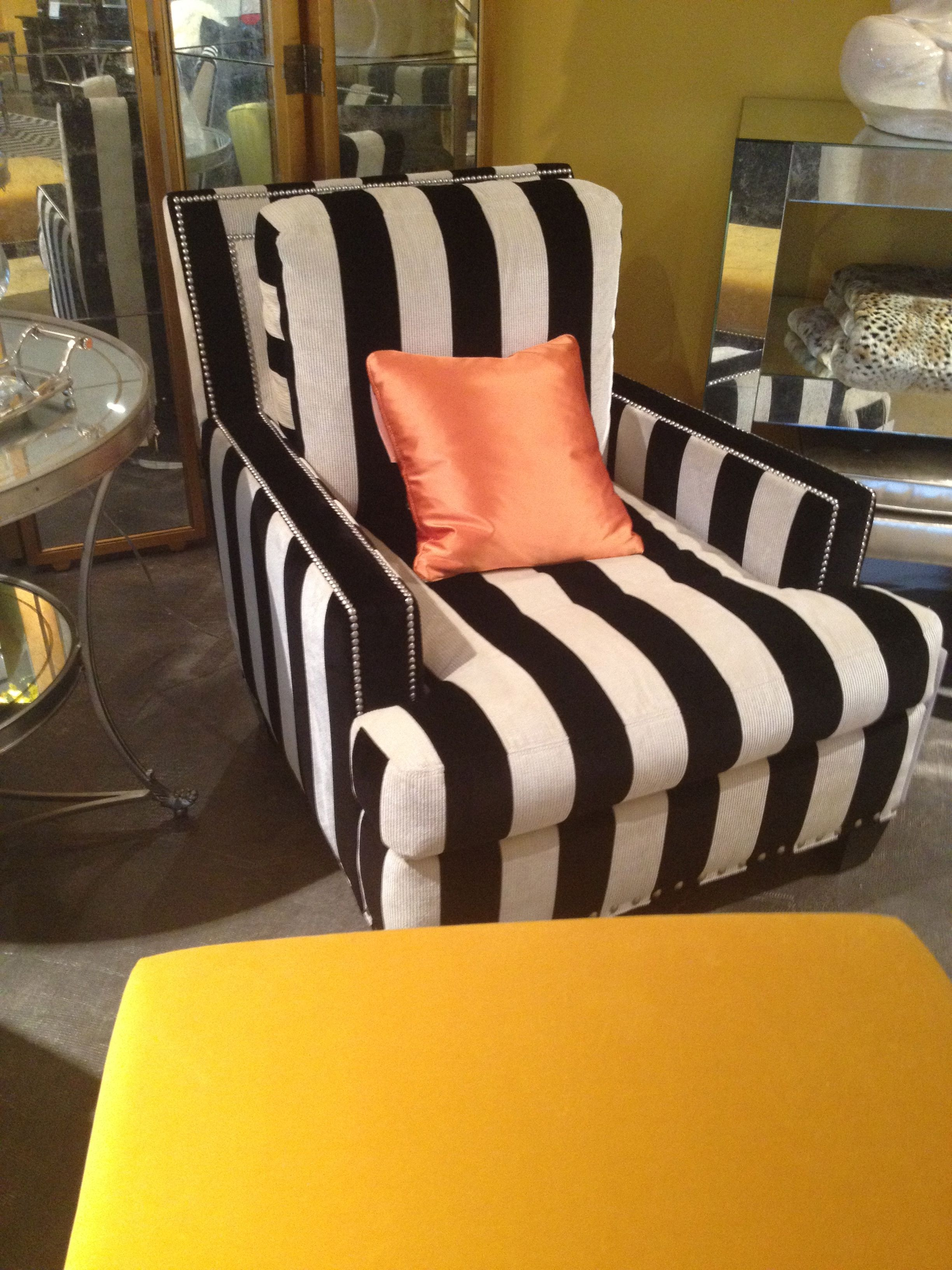 Charming High Point Market Spring 2012 Lillian August Black And White Stripe Chair  And Chic Yellow Ottoman...yes, To Both Please!