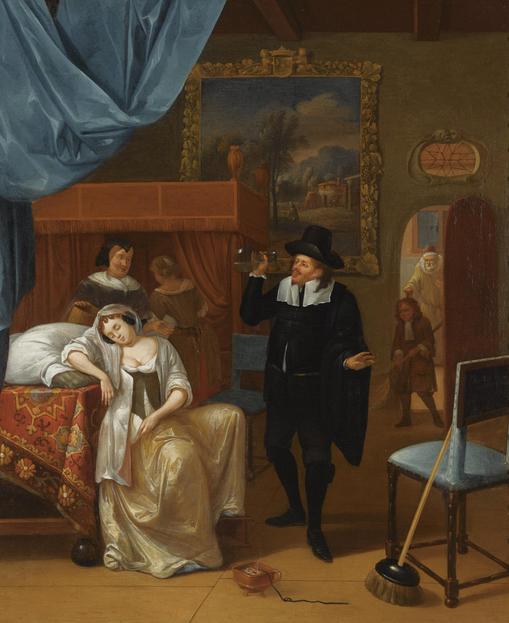 """Hendrick Carré, """"La visita del medico"""", Olio su tela, Firmato e datato 1681, 73 x 62 cm, Sotheby's casa d'aste, Asta 11 Novembre 2008, battuto a 5.000 euro."""