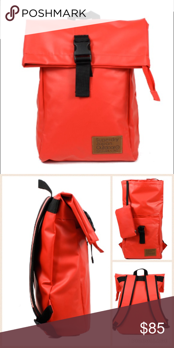 SuperDry Deluxe Backpack ( RED  amp  ORANGE) Use fabric waterproof  tarpaulin absolute . Capable 58e9f38901510