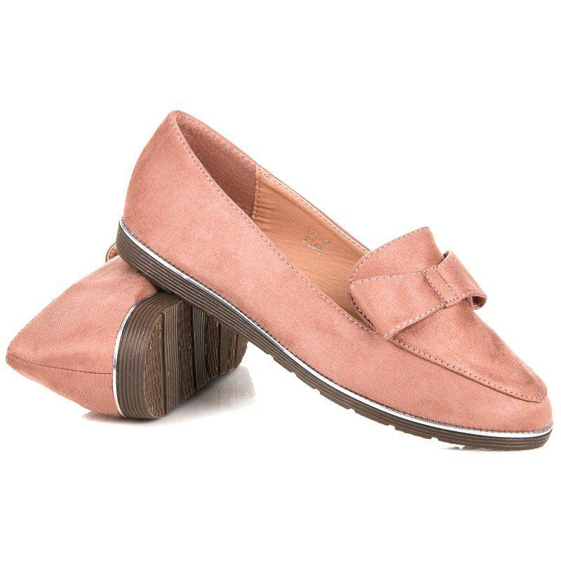 Zamszowe Mokasyny Z Kokardka Rozowe Loafers Fashion Shoes