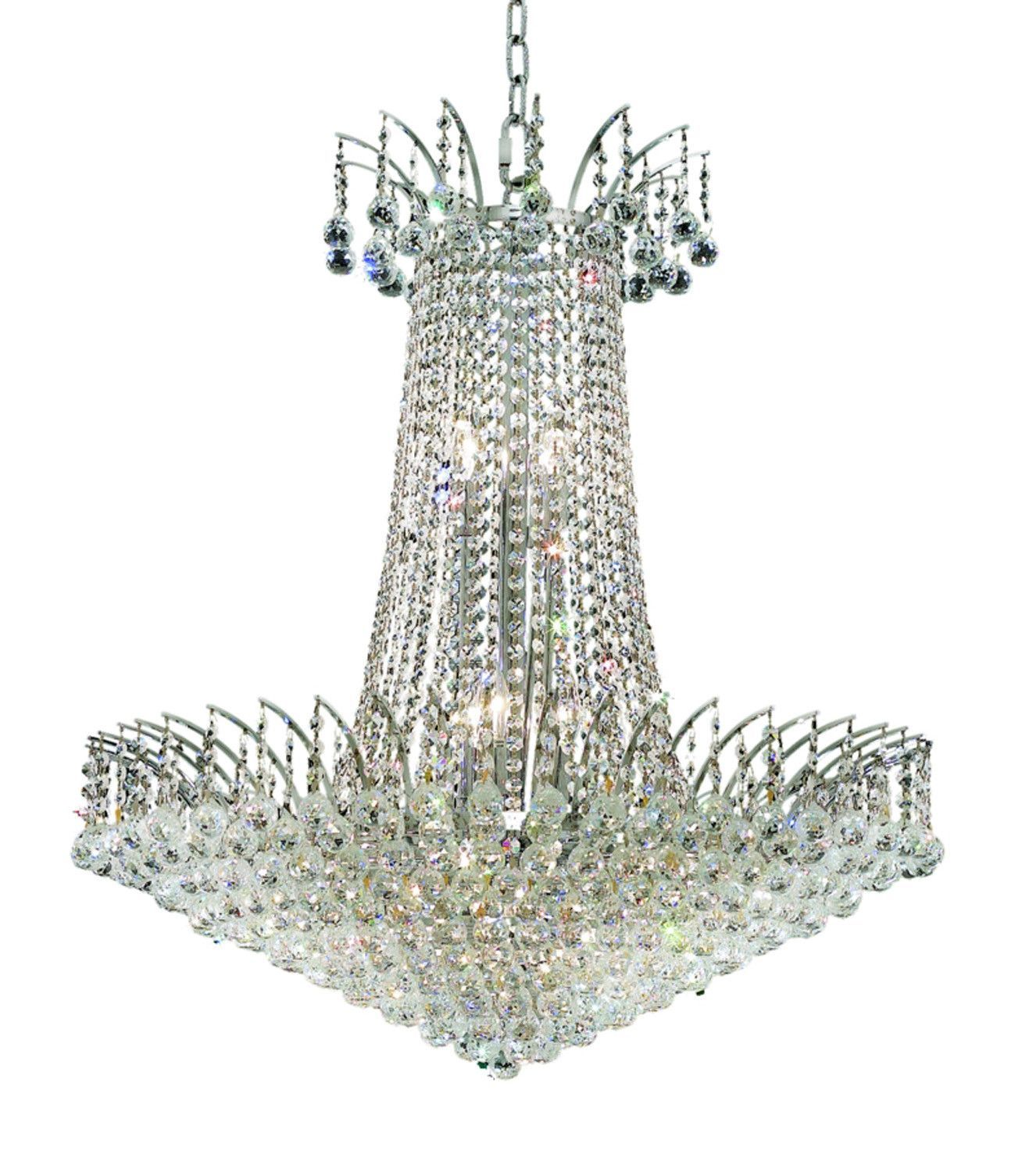 Elegant Lighting - 8031 Victoria Collection Hanging Fixture D29in H32in Lt:16 Chrome Finish (Royal Cut Crystals)