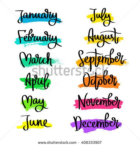 Set of labels of the months of the year. Fashionable calligraphy. January, February, March, April, May, June, July, August, September, November, December. Vector illustration.